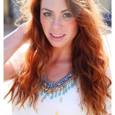 blue eye catcher statement necklace, love the shirt too