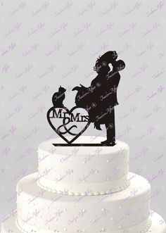 Silhouette Bride And Groom Mr Mrs With Cat Wedding Cake Topper Anniversary Anniversaries Silhouettes