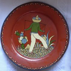 """THuge 16"""" Tlaquepaque Mexican Pottery Charger Plate Nice 1940s :D"""