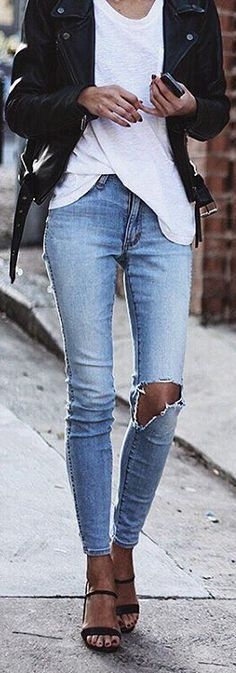30 cool style tips on how to wear ripped jeans