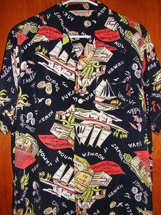 "Kuonakakai - ""South Sea Trader"" a 'Keoni of Hawaii' John Meigs design Hawaiian Wear, Vintage Hawaiian Shirts, 1950s Fashion Menswear, Mens Fashion, 1950s Men, Aloha Shirt, Hawaii Shirts, Vintage Outfits, Men Casual"