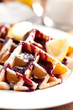 Lemon+Belgian+Waffles+with+Blueberry+Syrup