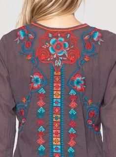 Back Detail: Johnny Was Biya Embroidered Kaya Blouse in Bark #folkart #decorative #floral #geometric #embroidery #design #johnnywas