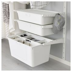 Storage under desk ? IKEA ALGOT box Practical for storing large and small things or to sort waste. Ikea Algot, Closet Storage, Closet Organization, Small Condo Decorating, Ikea Laundry, Ikea Desk, Closet Designs, Home Furnishings, Interior Design