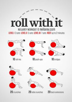 Just Roll With It. Core & Abs Exercise Ball Workout. DIY poster with easy to…