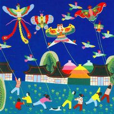This set of 10 colorful cards, featuring Jinshan peasant paintings, captures the charm and simple beauty of life in Jinshan's countryside. These paintings were featured in the book Chinese Kites, Chinese Art, Drawing For Kids, Art For Kids, Go Fly A Kite, Kite Flying, Chinese Element, Arte Popular, Naive Art