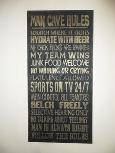 Man Cave Rules Sign mancave sign mancave by FarmhouseChicSigns, $25.00
