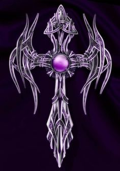 This is a personal project inspired by the Egyptian ankh figure merged with celtic art, both of them I like. Purple Cross, Purple Love, All Things Purple, Skull Tattoos, Body Art Tattoos, Tattoo Drawings, Cool Tattoos, Cross Wallpaper, Skull Wallpaper