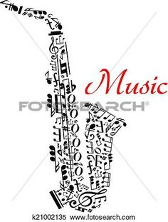 Saxophone with musical notes View Large Clip Art Graphic
