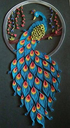 Quilled paper art colourful owl handmade artwork paper wall art home decor wall decor home decoration quilled art – Artofit Peacock Quilling, Quilling Work, Quilling Paper Craft, Paper Crafting, Peacock Crafts, Neli Quilling, Quilling Ideas, Paper Quilling Patterns, Quilled Paper Art