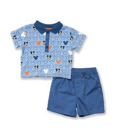 Make all those little moments even more special with the help of a beloved character companion. Graced with everyone's favorite mouse, this darling outfit captures all the magic of childhood while keeping a cutie supremely comfy in a cotton blend.