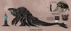 Kaiju (Cloverfield concept art.)  Would make a great monster for Pacific Rim.