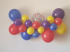 Wiggles Themed Balloon Garland Wiggles Cake, Wiggles Party, Wiggles Birthday, The Wiggles, Yellow Balloons, Confetti Balloons, Balloon Centerpieces, Balloon Garland, 2nd Birthday Parties