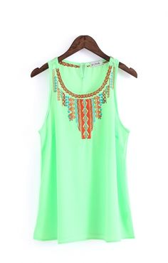 Love Boho Chic! Mint Green Embroidered O-neck Chiffon tank Top #Mint #Mint_Green #Bohemian #Chic #fashion