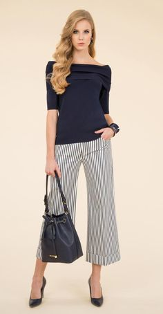 Stretch knitted pullover, striped gaucho trousers.