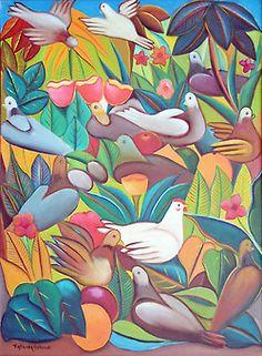 Art of Haiti - Fritzner Alphonse Haitian Art, Flower Paintings, African Art, Flower Art, Pride, Fantasy, American, Artist, Flowers