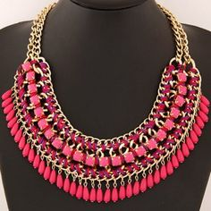 Bohemian Genre Complex Tiers Metallic and Cloth Weaving Fashion Necklace - Rose