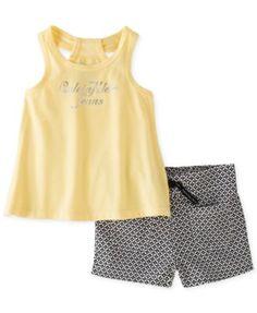 Calvin Klein Little Girls' or Toddler Girls' 2-Piece Logo Tank & Printed Shorts Set | macys.com