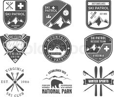 Stock vector of 'Set of Ski Club, Patrol Labels. Vintage Mountain winter sports explorer badges Outdoor adventure logo design. Travel hand drawn and hipster monochrome insignia Snowboard icon symbol. Wilderness Vector'
