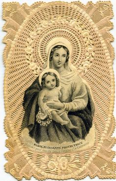 paper lace holy card: Madonna & Child