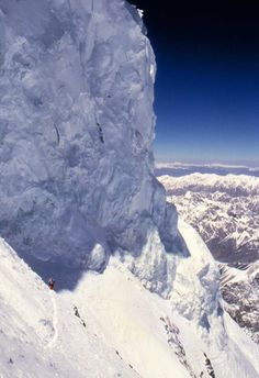High on K2 at approximately 8,200 meters. Seracs above the Bottleneck.