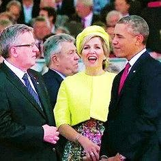 Queen Maxima and President Obama talk at the 70th Anniversary of the invasion of Normandy | gif