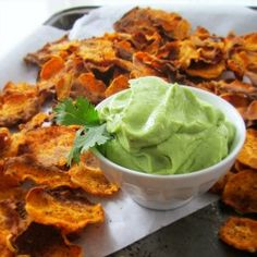 Homemade Sweet Potato Chips and Creamy Avocado and Lime Dip