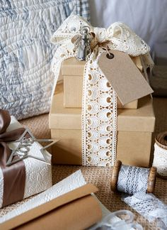 gift wrapping with lace
