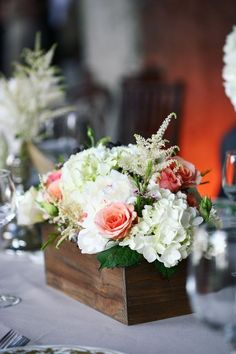 Love this box full of rustic flowers