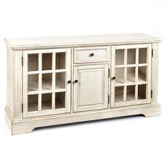 wood cream 3door media cabinet