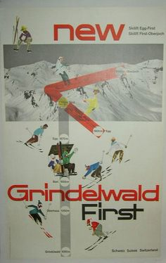 """Skiers head down the slopes on this circa 1950's Swiss ski poster that is linen backed, measures 25"""" x 40"""" and is in excellent condition. Description from trocadero.com. I searched for this on bing.com/images"""