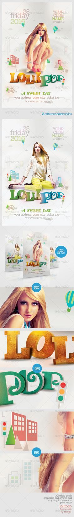 Lollipop Flyer Template / $6. ***This flyer is perfect for the promotion of Events, Club Parties, Shops/Boutiques, New Collections, Concerts, Sales/Promotions or Whatever You Want!.***
