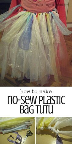 Best Toys 4 Toddlers - Here is how to make a super simple no-sew dancing tutu from plastic bags for hours of dancing with kids!