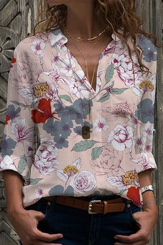 Vintage Floral Print Paneled Buttoned Shirt Collar Blouse - Shopingnova Floral Tops, Floral Prints, Button Down Collar Shirts, Blouse Vintage, Vintage Floral, Thing 1, Collar Blouse, Trendy Tops, Online Clothing Stores