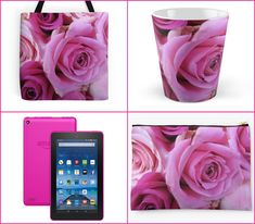 With Love for Books: Valentine's Day Pink Rose Tote Bag, Mug & Pouch an...
