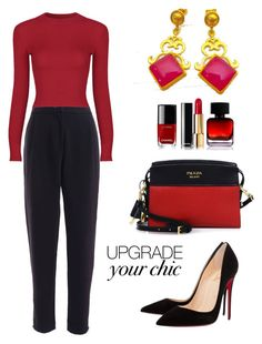 """""""Red"""" by evanangel ❤ liked on Polyvore featuring Christian Louboutin, Prada, The Collection by Phuong Dang and Chanel"""