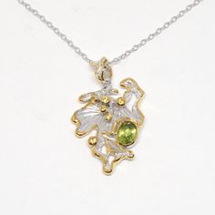 Anhänger mit Peridot Peridot, Pendant Necklace, Jewellery, Sapphire, Gold Paint, Beads, Stones, Necklaces, Silver