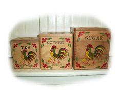 VINTAGE ROOSTER CANISTER Set  Wood Kitchen by vintagewarehouse, $17.00