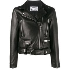 Acne Studios Acne Studios Mock Jacket ($1,860) ❤ liked on Polyvore featuring outerwear, jackets, black, 100 leather jacket, waist belt, genuine leather jackets, real leather jackets and leather jackets