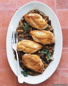 Roast Chicken with Wild Mushroom Sauce - Martha Stewart Recipes