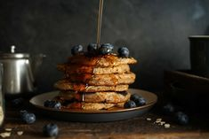 These perfect blueberry pancakes can be eaten fresh or frozen for future quick breakfasts or late-night snacks. Plant Based Breakfast, Breakfast Dessert, Breakfast Recipes, Vegan Breakfast, Breakfast Ideas, Plant Based Eating, Plant Based Diet, Plant Based Recipes, Sweet Potato Buns