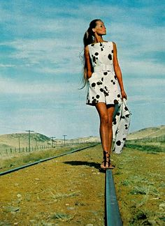 Veruschka in a short dress and coat by Originala. Photographed by Rubartelli in Texas for American Vogue, 1968.