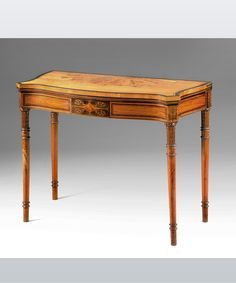 An elegant Sheraton revival satinwood veneered serpentine card table, c.1880 #cards #games #table