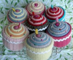 Recycle your old sweaters into cute cupcakes!