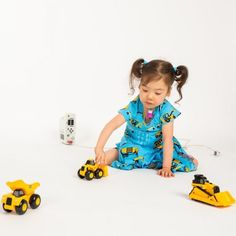 This dress is for digger lovers! Bright yellow construction trucks are hard at work in this vibrant pattern that brings blueprints to life. Deep pockets and a full twirly skirt; Toddler Outfits, Kids Outfits, Cool Outfits, Things To Do With Boys, Full Skirt Dress, Kids Lighting, Boys Wear, Nice Dresses, Trucks