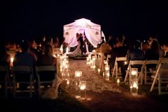 evening beach wedding idea http://prettyweddingidea.com/