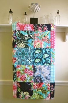 Modern Baby Girl Quilt -  Bliss Bouquet - Minky or Flannel Back - Toddler Quilt - Girl Crib Quilt in Navy, Pink, and Aqua- Bohemian by FernLeslieBaby on Etsy https://www.etsy.com/listing/161161602/modern-baby-girl-quilt-bliss-bouquet
