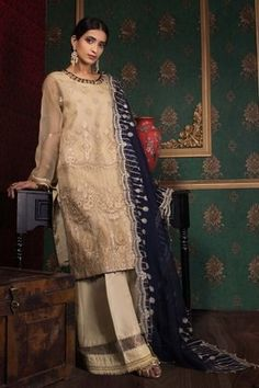 Sapphire Festive Collection 2019 Pakistani Salwar Kameez, Pakistani Suits, Pakistani Dresses, Sapphire Color, Navy Fabric, Silk Dupatta, M Color, Wedding Wear, Winter Dresses