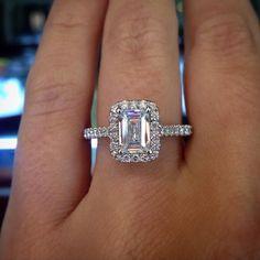 Uneek 14k White & Rose Gold .45ctw Emerald Halo Engagement Ring