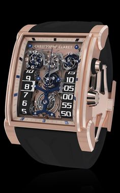 Christophe Claret - DualTow features a planetary-gear, monopusher chronograph with an original striking mechanism signaling start, stop and reset Dream Watches, Luxury Watches, Cool Watches, Watches For Men, Gentleman Watch, Place Vendôme, Mens Toys, Expensive Watches, Automatic Watch